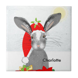Cute Bunny Rabbit Christmas Holiday Theme Tile