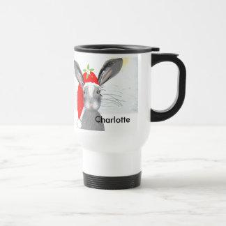 Cute Bunny Rabbit Christmas Holiday Theme Travel Mug