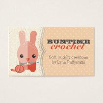 Cute bunny rabbit crochet hook ball of yarn business card