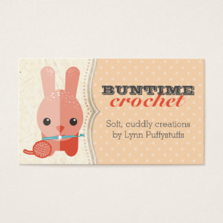Cute bunny rabbit crochet hook ball of yarn business card