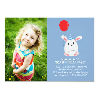 Cute Bunny Rabbit Custom Photo Birthday Party 5x7 Paper Invitation Card
