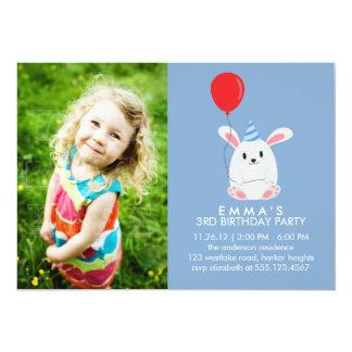 Cute Bunny Rabbit Custom Photo Birthday Party Card