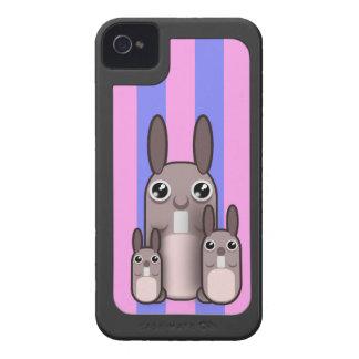 Cute Bunny Rabbit Family Vector Stripes iPhone 4 Case-Mate Case