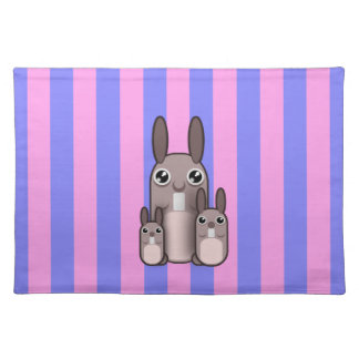 Cute Bunny Rabbit Family Vector Stripes Placemat