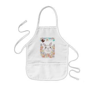 Cute Bunny Rabbit Flowers & Butterflies Kids' Apron