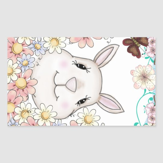 Cute Bunny Rabbit Flowers & Butterflies Rectangular Sticker