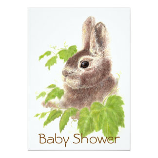 Cute Bunny Rabbit, Garden Animal Baby Shower 5x7 Paper Invitation Card