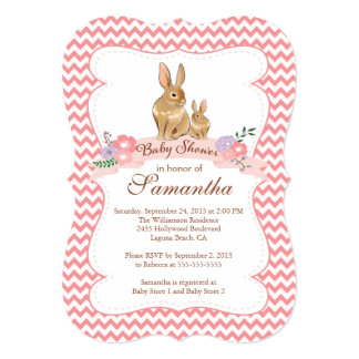 "Cute Bunny Rabbit Girl Baby Shower Invitations 5"" X 7"" Invitation Card"