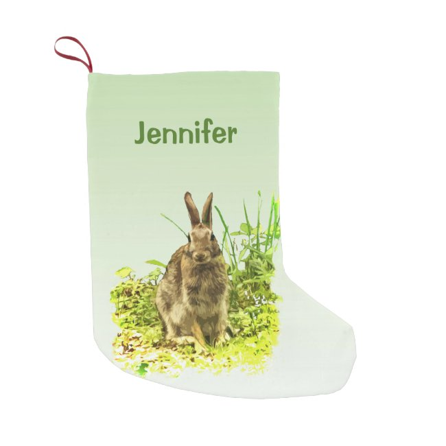 Cute Bunny Rabbit Green Grass Christmas Stocking