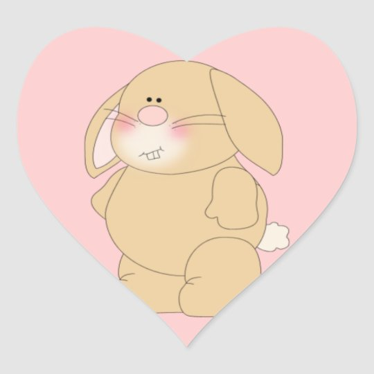 Cute Bunny Rabbit Heart Shaped Stickers