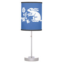 Cute Bunny Rabbit in Blue and White Desk Lamp