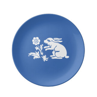 Cute Bunny Rabbit in Blue and White Porcelain Plates