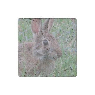 Cute Bunny Rabbit In Wildflowers Animal Lover Stone Magnet