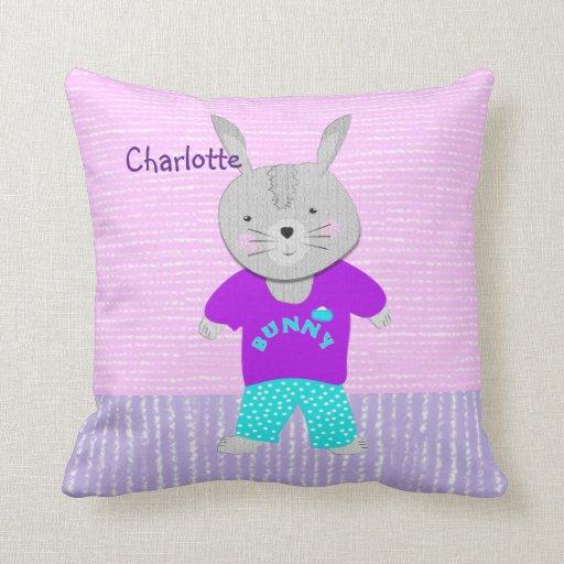 Cute Bunny Pillow : Cute Bunny Rabbit Kids Personalized Pillow Zazzle