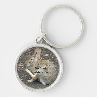 """CUTE BUNNY RABBIT, ""MY LUCKY RABBIT'S FOOT"" KEYCHAIN"