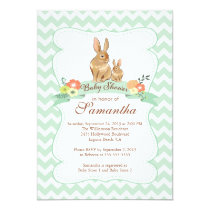 Cute Bunny Rabbit Neutral Baby Shower Invitations
