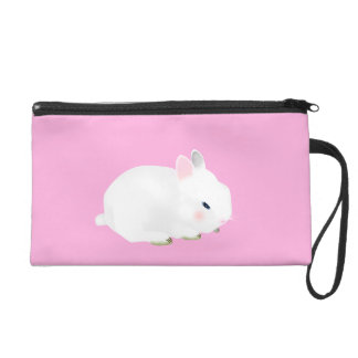 Cute bunny rabbit on pink wristlet clutches