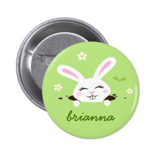 Cute bunny rabbit peeking out personalized name 2 inch round button