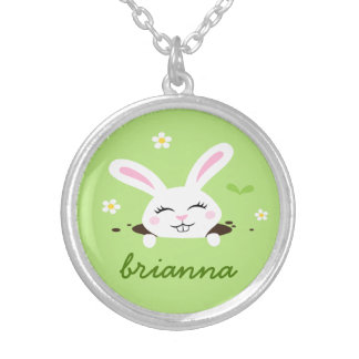 Cute bunny rabbit peeking out personalized name silver plated necklace