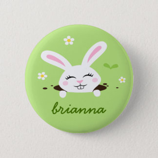 Cute bunny rabbit personalized name button