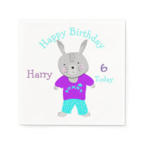Cute Bunny Rabbit Themed Birthday Party Napkin