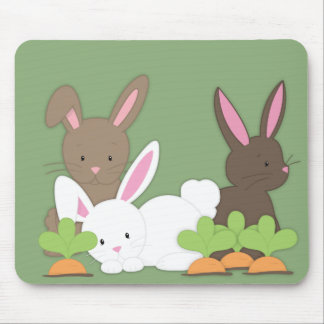 Cute Bunny Rabbit Trio Mouse Pad