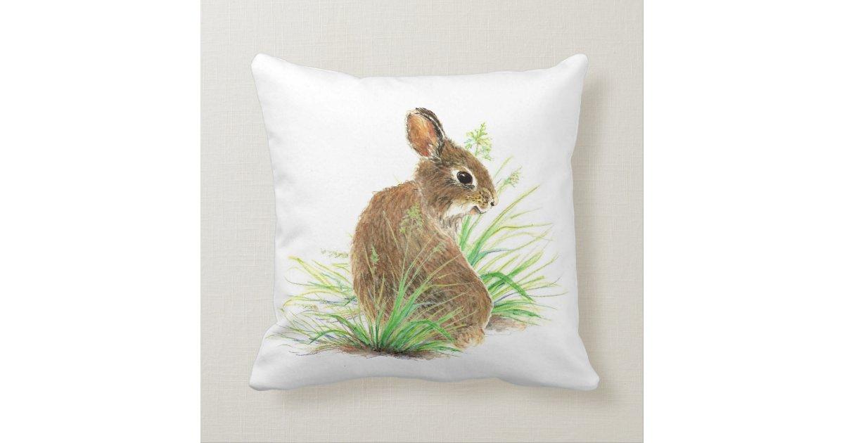 Cute Bunny Rabbit, Watercolor Nature, Wildlife Throw Pillow Zazzle