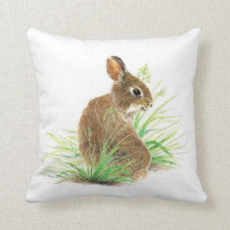 Cute Bunny Rabbit, Watercolor Nature, Wildlife Throw Pillow