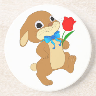 Cute Bunny Rabbit with Bow Tie Walking w/ Red Rose Beverage Coasters