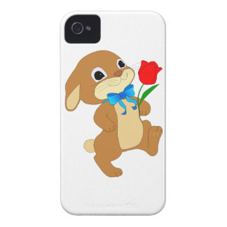 Cute Bunny Rabbit with Bow Tie Walking w/ Red Rose iPhone 4 Case-Mate Case