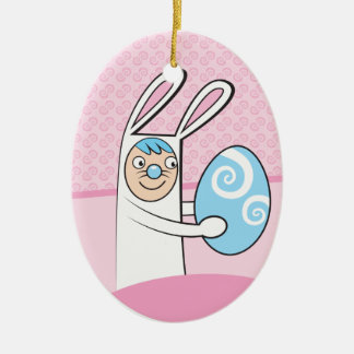 Cute bunny rabbit with Easter egg Ceramic Ornament