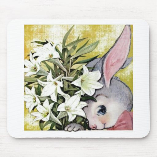 Cute Bunny Rabbit with Flowers Mouse Pad