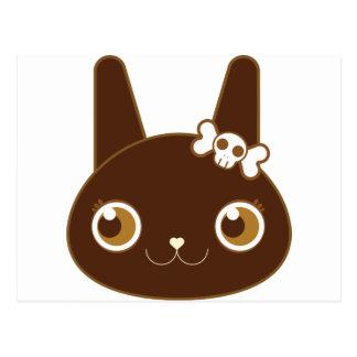 cute bunny rabbit with skull bow postcard