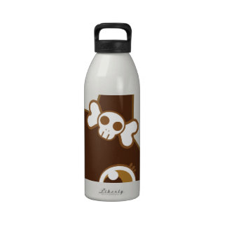 cute bunny rabbit with skull bow water bottle