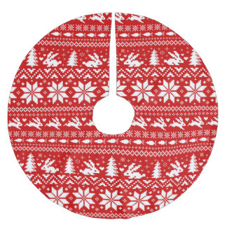 Cute Bunny Rabbits Red Christmas Pattern Brushed Polyester Tree Skirt