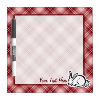 Cute Bunny; Red Plaid Dry-Erase Board