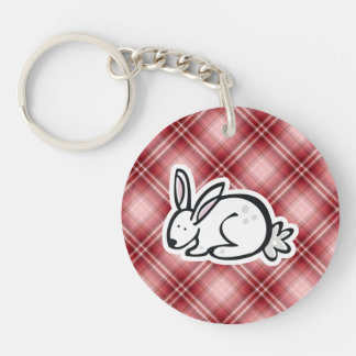 Cute Bunny Red Plaid Keychain
