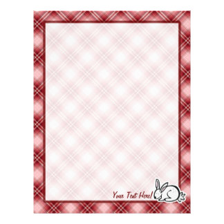 Cute Bunny; Red Plaid Custom Letterhead