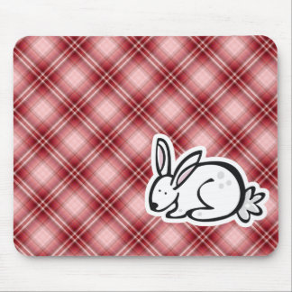 Cute Bunny Red Plaid Mouse Pads