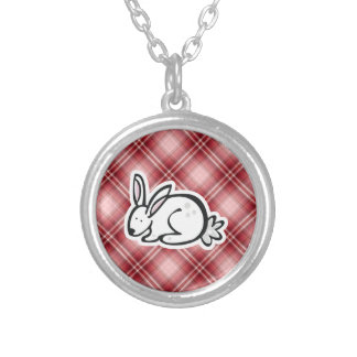 Cute Bunny; Red Plaid Personalized Necklace