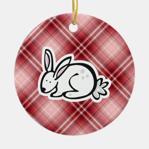 Cute Bunny; Red Plaid Double-Sided Ceramic Round Christmas Ornament