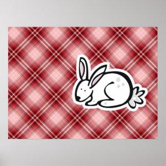 Cute Bunny; Red Plaid Print