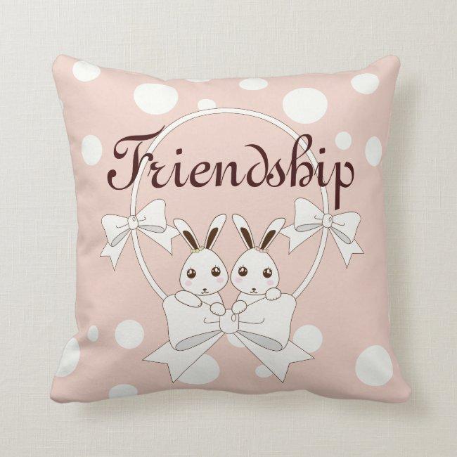 Cute Bunny Ribbon Cartoon Kids Room | Nursery Pink