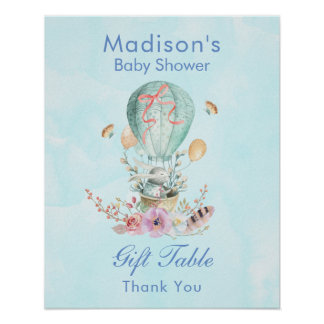 Cute Bunny Riding in a Balloon Baby Shower Poster