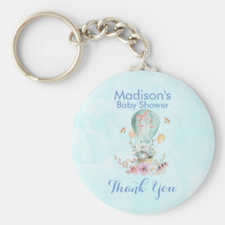 Cute Bunny Riding in a Hot Air Balloon Baby Shower Keychain
