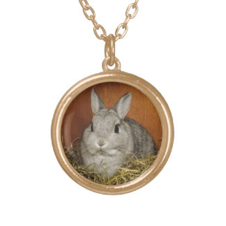 Cute Bunny Silver Plated Necklace Round Pendant Necklace