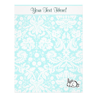 Cute Bunny; Teal Personalized Letterhead