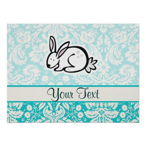 Cute Bunny; Teal Poster