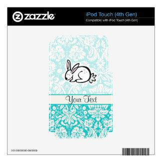Cute Bunny; Teal Skins For iPod Touch 4G