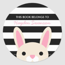 Cute Bunny | This Book Belongs To Classic Round Sticker